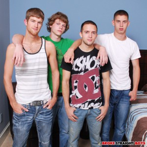Hot twink foursome Blake, Brandon, Sam and Max at Broke Straight Boys
