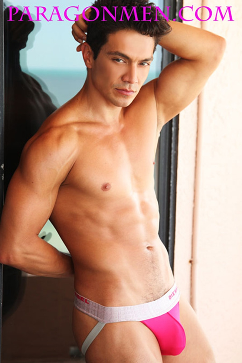 Paragon Men Rico Leon steps out of his jockstrap and jerks his hard cock