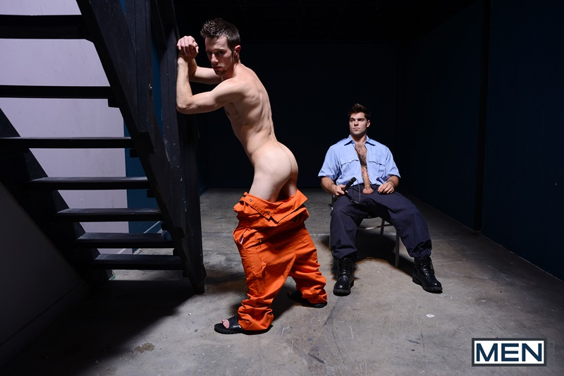 Prison bitch boy Travis Stevens sucks Roman Todd's big fat cock before getting his tight asshole fucked