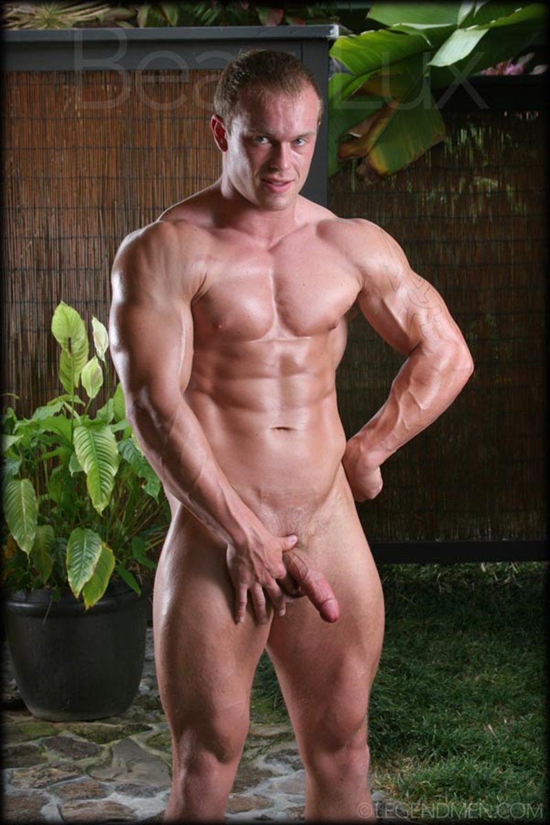 LegendMen Massive muscle hunk Beau Lux naked bodybuilder camouflage underwear thick cock shaved pubes wanks young muscle dude 03 gay porn star sex video gallery photo - Naked muscled hunk Beau Lux Legend Men's newest bodybuilder