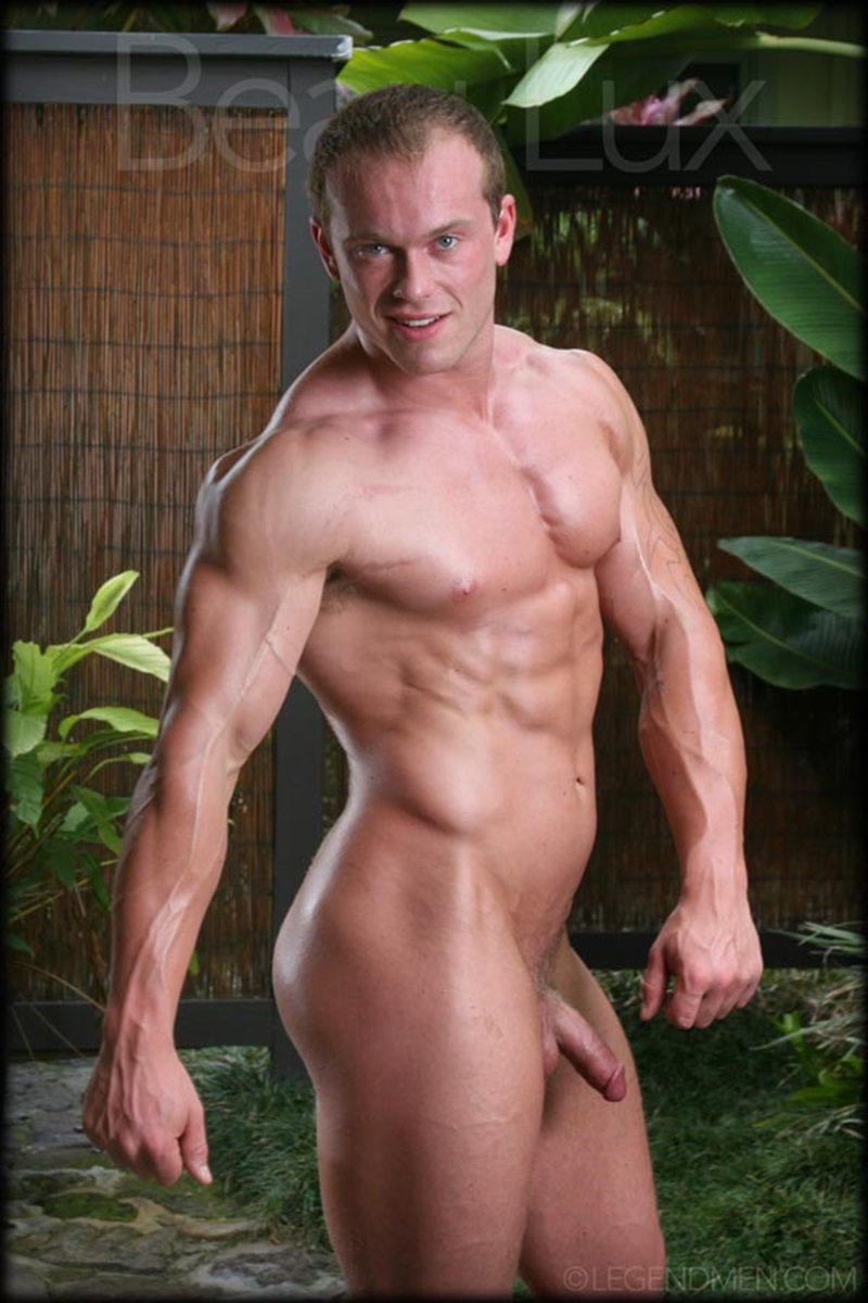LegendMen Massive muscle hunk Beau Lux naked bodybuilder camouflage underwear thick cock shaved pubes wanks young muscle dude 08 gay porn star sex video gallery photo - Naked muscled hunk Beau Lux Legend Men's newest bodybuilder