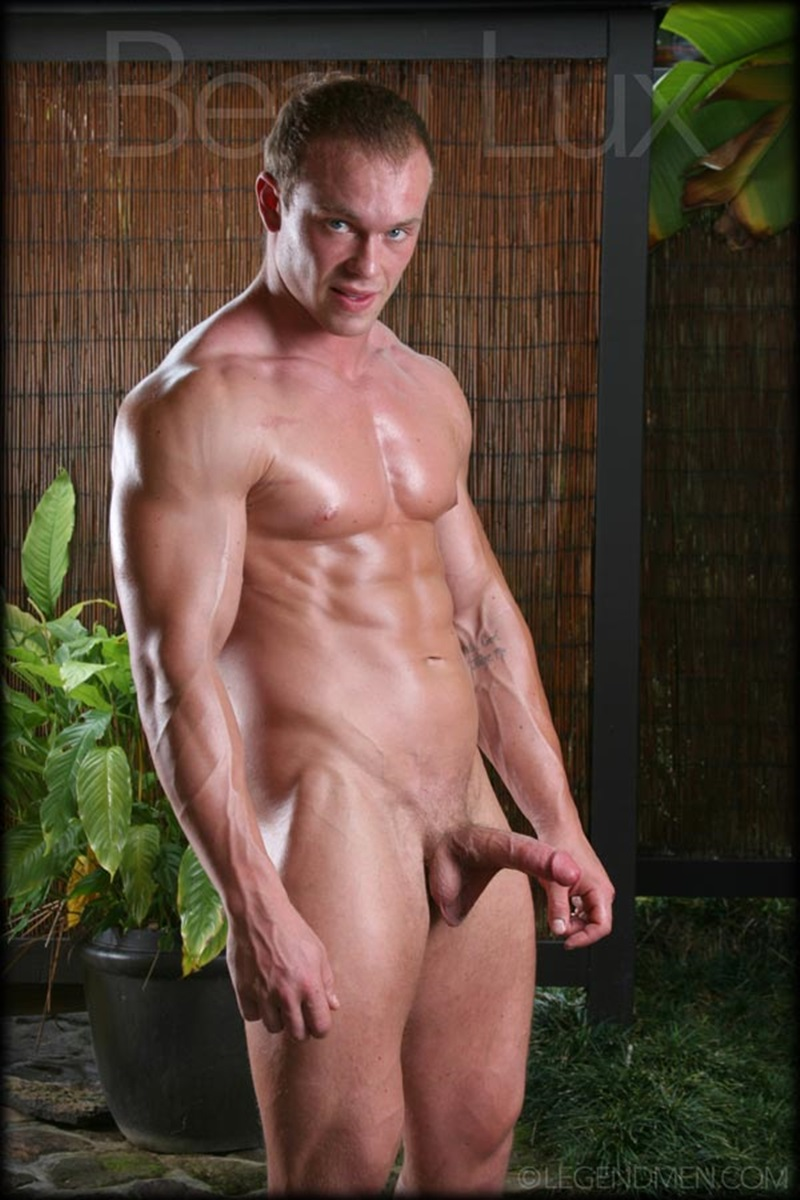 LegendMen Massive muscle hunk Beau Lux naked bodybuilder camouflage underwear thick cock shaved pubes wanks young muscle dude 09 gay porn star sex video gallery photo - Naked muscled hunk Beau Lux Legend Men's newest bodybuilder