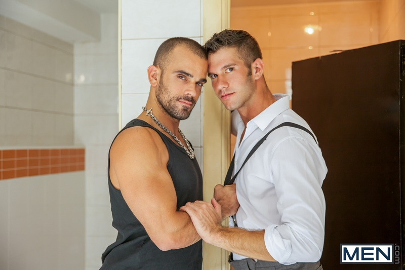 Damien Crosse strokes and sucks on Jimmy Fanz's hard erect dick