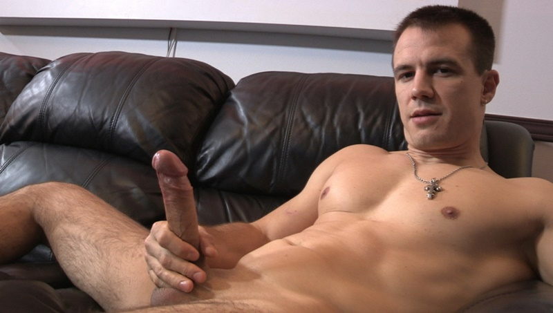 Maskurbate Ricky jerks off his huge long dick to a massive cum explosion