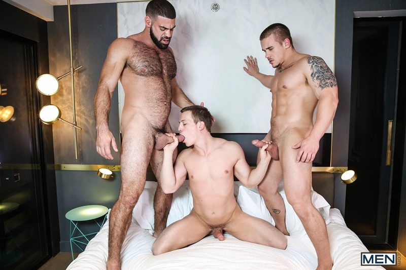 Hardcore ass fucking threesome Adam Bryant, Tommy Regan and Ricky Larkin