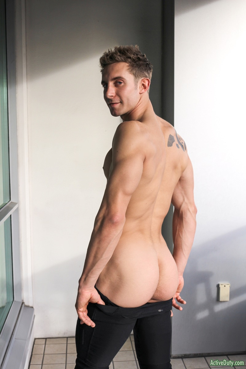 ActiveDuty handsome army military recruit Trey big thick tattoo cock solo jerking huge member tattooed sexy young naked dude cumshot asshole 004 gay porn sex gallery pics video photo - Sexy straight army dude Trey shows off his dick tattoo as it grows to full size