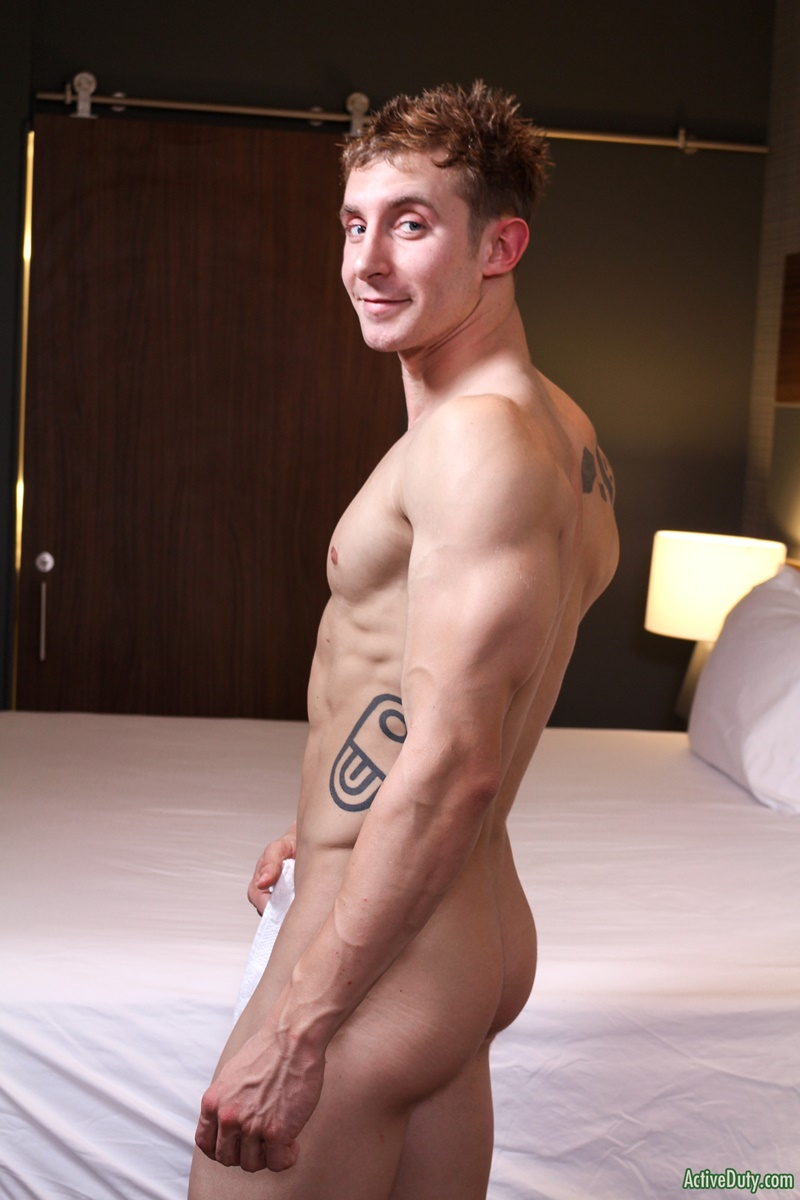 ActiveDuty handsome army military recruit Trey big thick tattoo cock solo jerking huge member tattooed sexy young naked dude cumshot asshole 008 gay porn sex gallery pics video photo - Sexy straight army dude Trey shows off his dick tattoo as it grows to full size