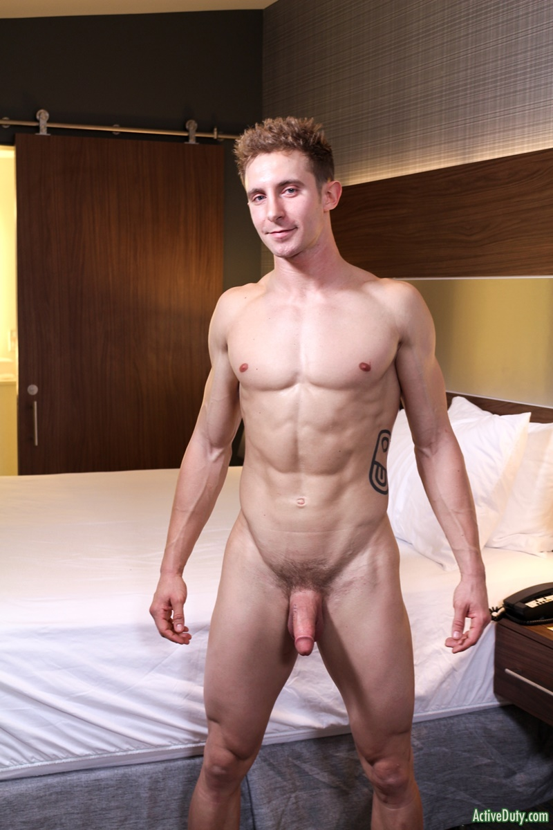 ActiveDuty handsome army military recruit Trey big thick tattoo cock solo jerking huge member tattooed sexy young naked dude cumshot asshole 009 gay porn sex gallery pics video photo - Sexy straight army dude Trey shows off his dick tattoo as it grows to full size