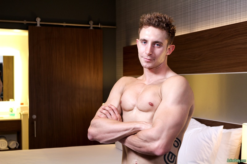 ActiveDuty handsome army military recruit Trey big thick tattoo cock solo jerking huge member tattooed sexy young naked dude cumshot asshole 010 gay porn sex gallery pics video photo - Sexy straight army dude Trey shows off his dick tattoo as it grows to full size