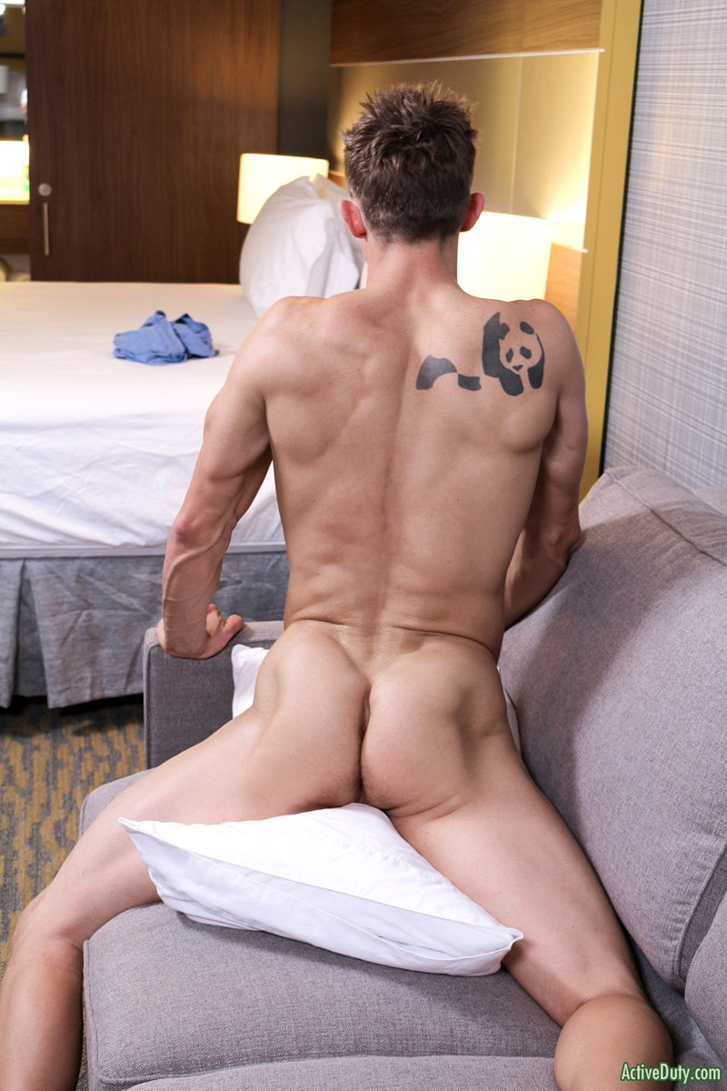 ActiveDuty handsome army military recruit Trey big thick tattoo cock solo jerking huge member tattooed sexy young naked dude cumshot asshole 011 gay porn sex gallery pics video photo - Sexy straight army dude Trey shows off his dick tattoo as it grows to full size