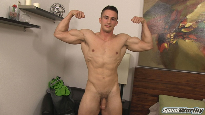 Spunkworthy Leon strokes his huge dick to a massive cumshot
