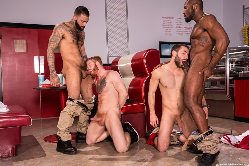 Hardcore ass fucking Noah Donovan, Bennett Anthony, Rikk York and Lucas Allen
