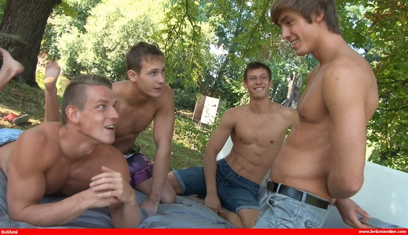 Hot foursome Jeff Mirren, Roald Ekberg, Helmut Huxley and Marcel Gassion bareback ass fucking orgy