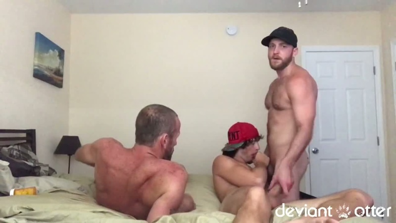 DeviantOtter Devin totter bearded young otter cub hairy chest daddy fucker tattoo 9 inch cock sucker anal rimming poppers 001 gay porn sex gallery pics video photo - Deviant Otter tattooed skater boy with a fat nine inch cock