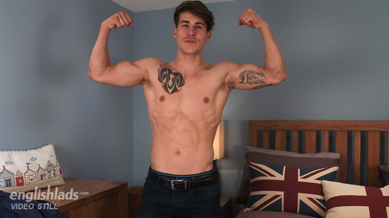 Young sporty nude dude Paolo Borda strips and jerks his big uncut cock
