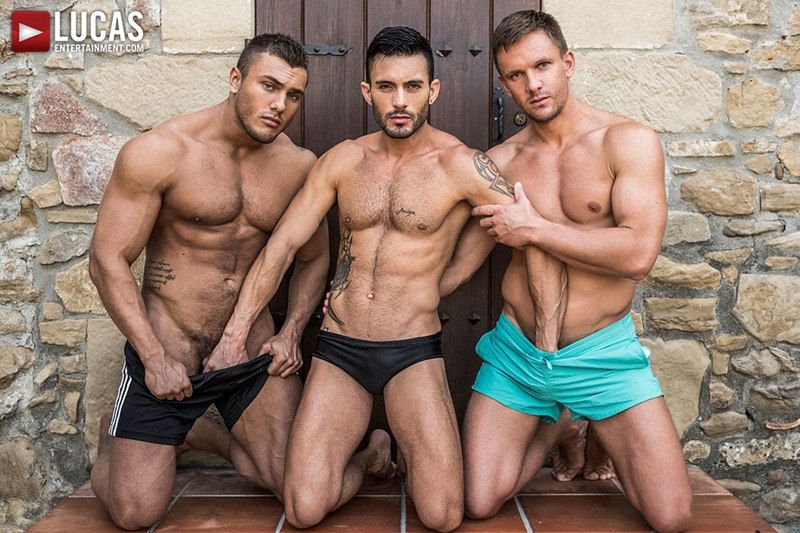 Brock Magnus and Andrey Vic bareback double fucking Andy Star's tight bubble butt asshole