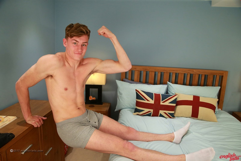 Straight cute dude Martin Aspey shows off his ripped body and jerks his huge uncut dick