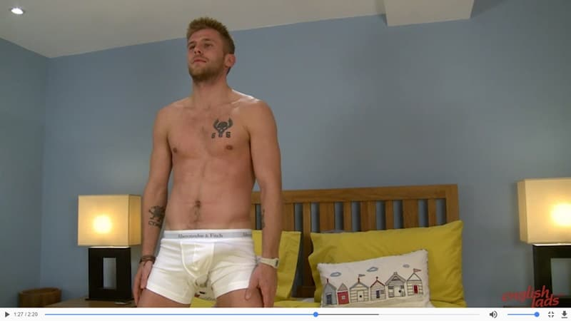 Jenson Shaw's uncut penis comes out of his boxers and its immediately rock hard