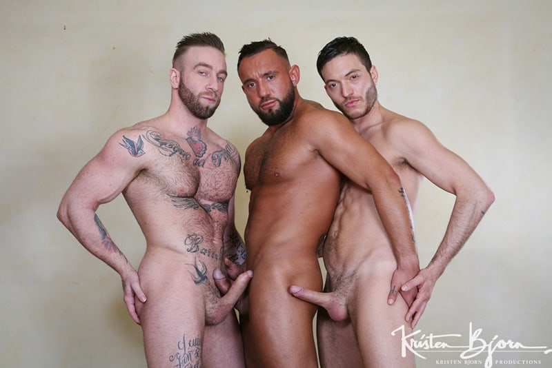 Pig Ricco Fatale gets on his knees and sucks both Manuel Scalco and Jake Cooks' cocks at the same time