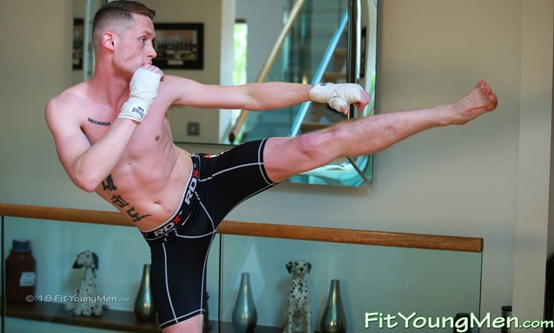 21 year old Martial Arts sportsman Tom Gifford strips down to his Spandex kit then jerks out a huge cum load