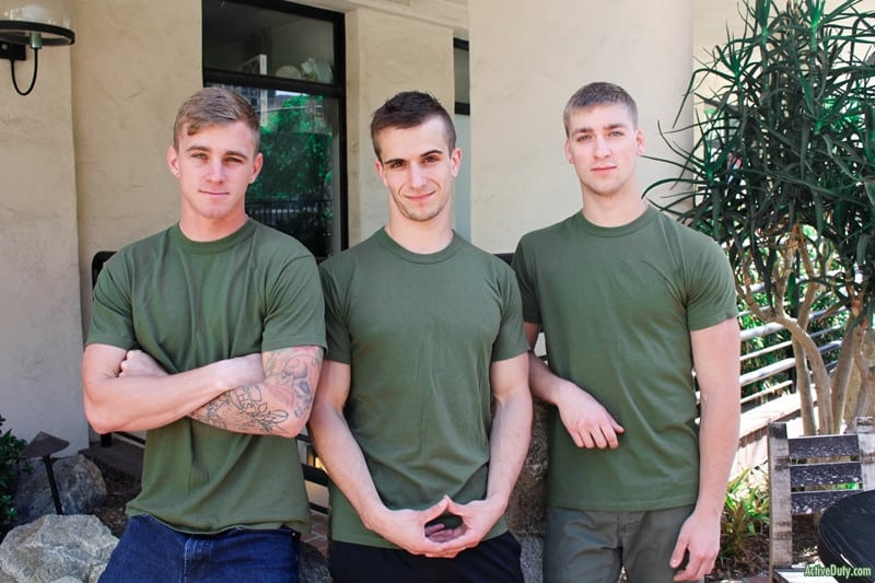 Hot army boy threeseome Ryan Jordan, Donte Thick and Blaine Jameson hardcore anal fuckfest