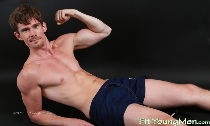 24 year old personal trainer Jamie Green flexes his muscles as he jerks his long muscular cock