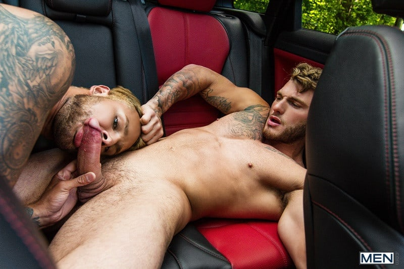 William Seed forces Jax Damon to his knees to suck his massive cock with his pierced tongue