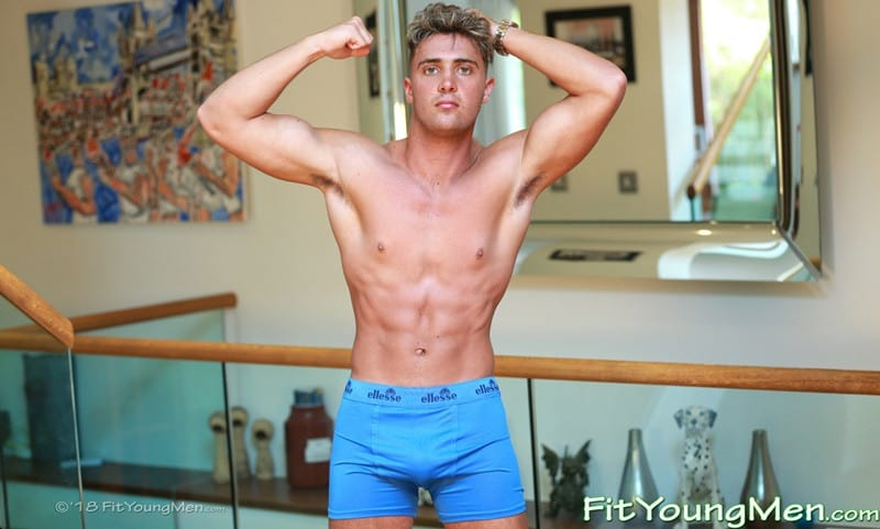 Sexy young sports dude Simon Broad strips down to his tight undies wanking his big uncut cock to a massive load of hot boy cum