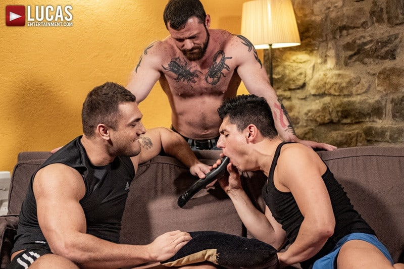Hot muscle hunks Brock Magnus and Sergeant Miles spit-roast both Ken Summers' open holes