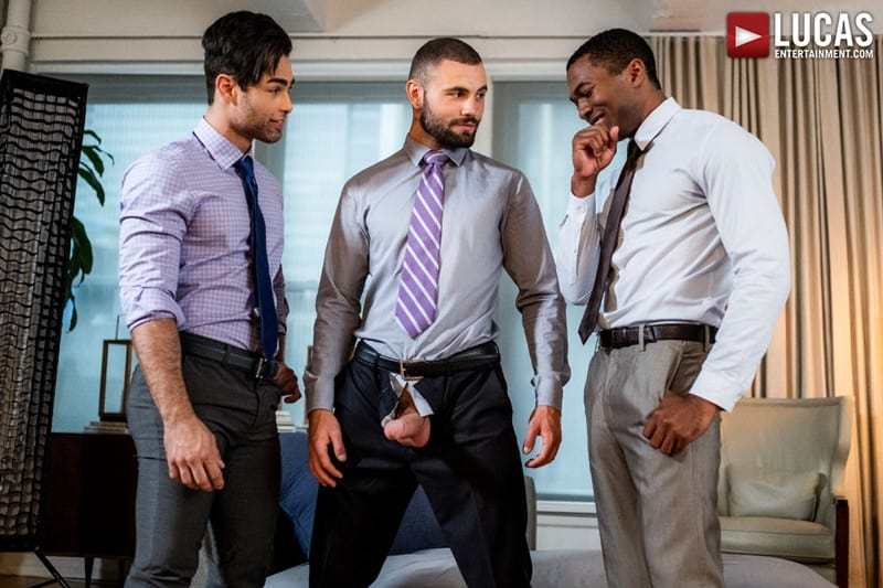 Interracial anal fuck and suck fest Sean Xavier and Lucas Leon persuade Jeffrey Lloyd to get his big beautiful cock out