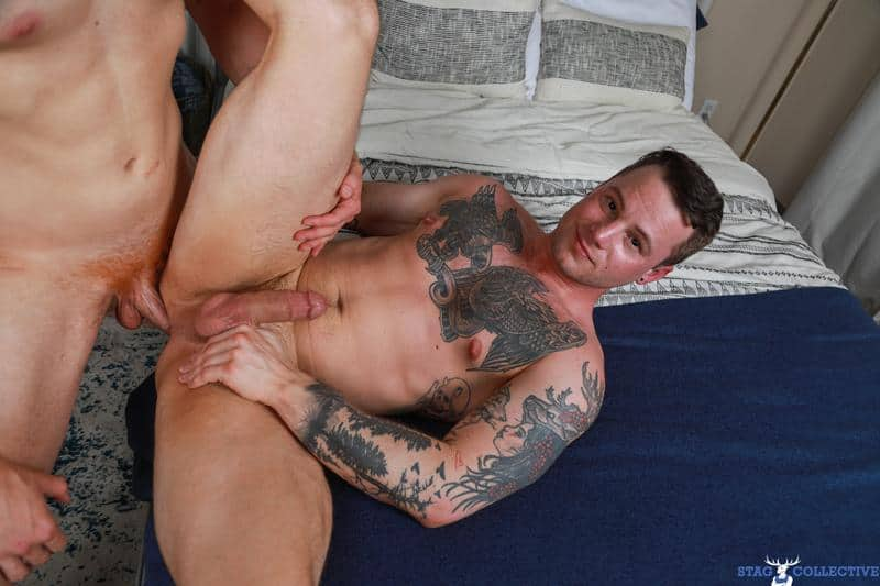 Tattooed muscle dude Tyler James tight asshole barebacked Chris White huge raw dick 10 gay porn pics - Tattooed muscle dude Tyler James's tight asshole barebacked by Chris White's huge raw dick