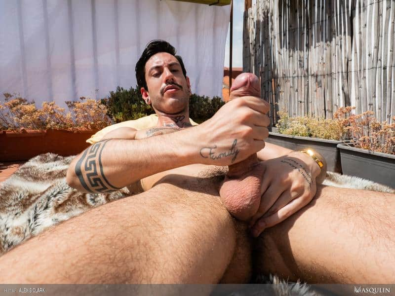 Sexy young hairy dude Alexis Clark hot asshole raw fucked a huge uncut cock up on the roof 14 gay porn pics - Sexy young hairy dude Alexis Clark hot asshole raw fucked by a huge uncut cock up on the roof